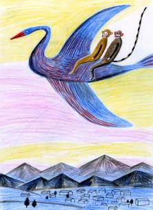 Katrin Stangl - Affe auf Vogel
