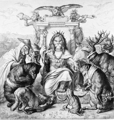 Wilhelm von Kaulbach: Huldigung der Tiere vor König Nobel, Frontispitz zu Goethes Reineke Fuchs, 1846. Stahlstich von Rudolf Rahn