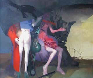 Arno Rink - Unterm Tuch, Öl auf Leinwand, 1994