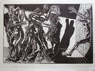 Rolf Kuhrt - Kassandra und wir, 1982, Holzschnitt 55,2 x 82,5