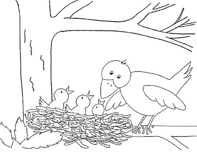 gives some really fun bird craft ideas, including this coloring page