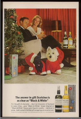 Christmas picture of scottish terrier and west highland picture whiskey 1964