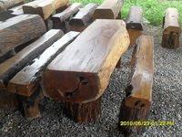 ชุดโต๊ะท่อนไม้