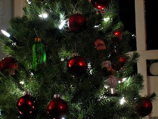 LED Christmas lights and a glass pickle