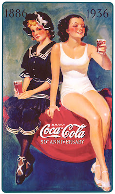 Coca Cola girl in classic vintage ad