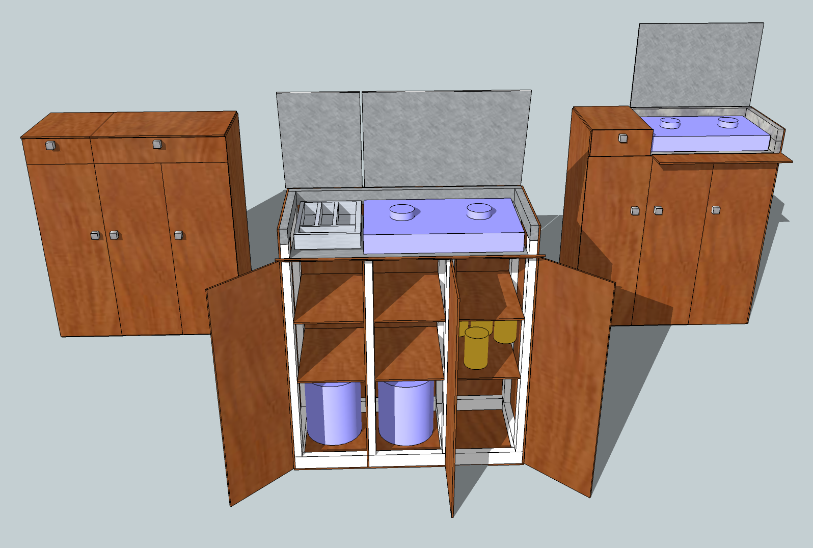 The Google Sketchup Picture Above Shows The New Design With From Left To Right The Kitchen Pod All Shut Up It S Usual State With It All Opened To Show