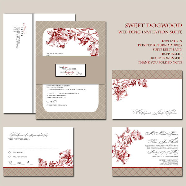 Sweet Dogwood Wedding Invitation Suite
