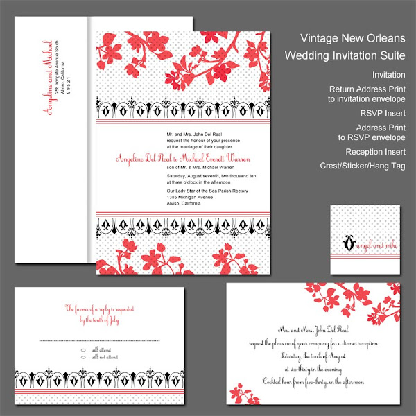 Vintage New Orleans Wedding Invitation Suite
