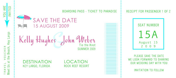 Boarding Pass Invitation/Save the Date Announcement