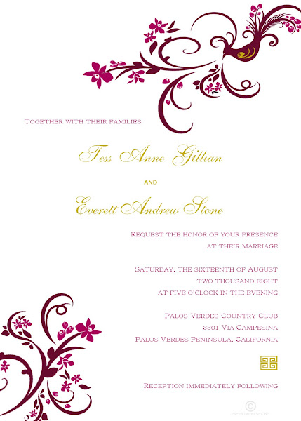 Phoenix Orchid Wedding Invitation