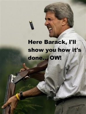 Kerry gives Obama a shooting lesson