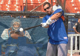 Adam Sandler taking batting practice at Shea Stadium