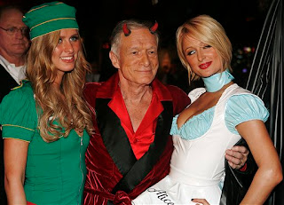 Hef with Nicky and Paris Hilton