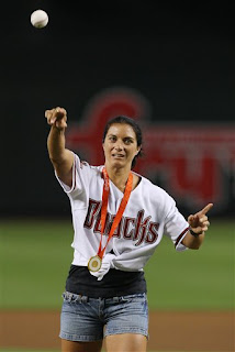 Misty May-Treanor throws out the first pitch at the Diamondbacks-Marlins game