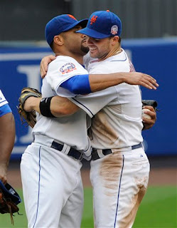 David Wright congratulates Johan Santana on one of the msot clutch pitching performances you will ever see