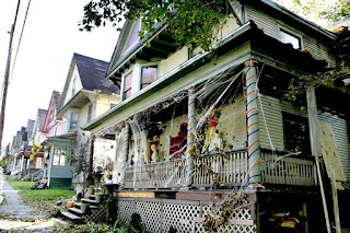 the porch of a home in Oil City, decorated for Halloween