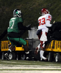 This picture captures the moment of impact when Houston receiver Patrick Edwards broke his leg running into a cart