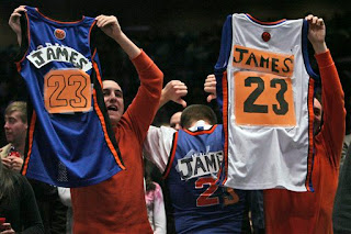 John Vernazza Greg Kutzil and Adrew Gizzo show their appreciation for LeBron James