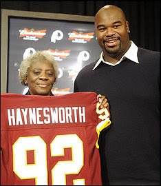 Albert Haynesworth's mama is happy with her baby's new contract