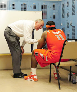 Jim Boeheim scolds Paul Harris
