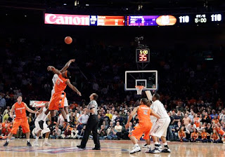 Paul Harris wins the tip to start the 6th overtime, the first tip SU won.  Thabeet having fouled out may have helped there