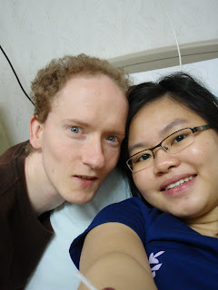 Me and my wife in the hospital waiting for the 2nd breastfeeding time