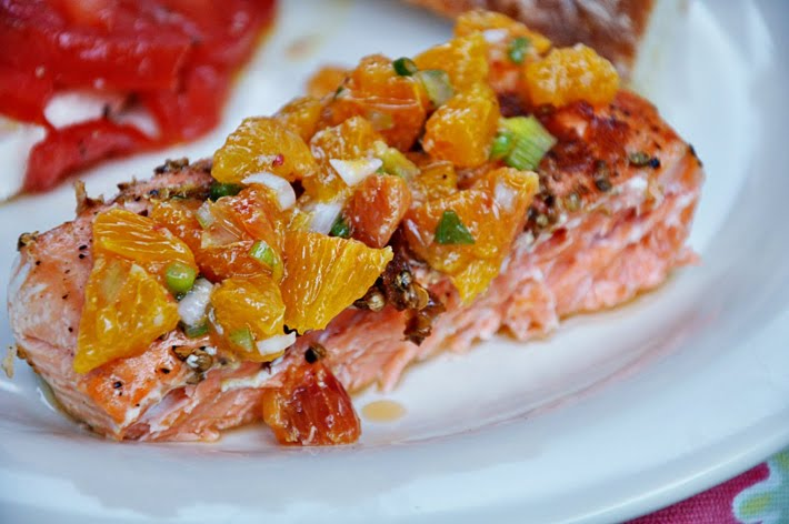 the parsley thief: Grilled Salmon with Blood Orange Salsa
