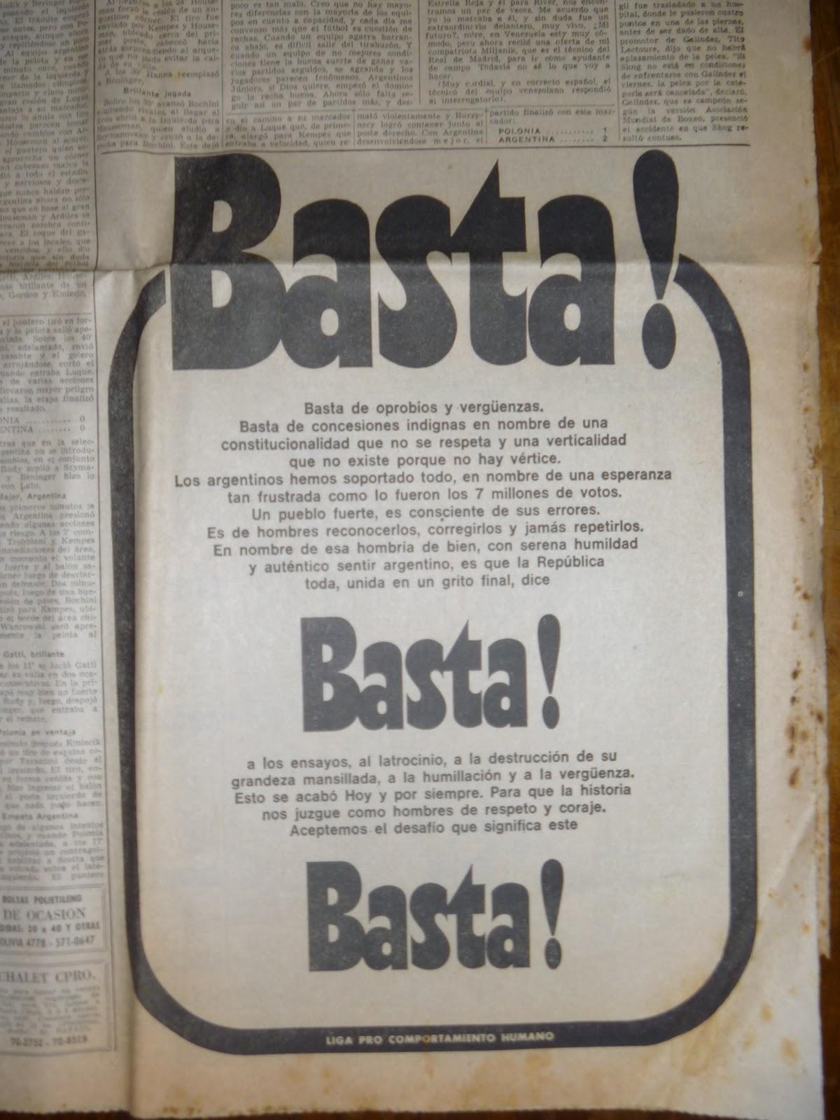 Diario La Razón 24 de Marzo de 1976