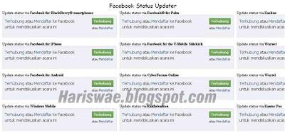 Update Status Facebook via blackberry wartel kantor pos