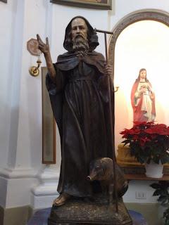 statua del santo conservata nella chiesa di Gallignano (AN)