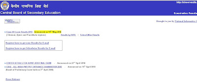 CBSE Class 12 Results on cbseresults.nic.in