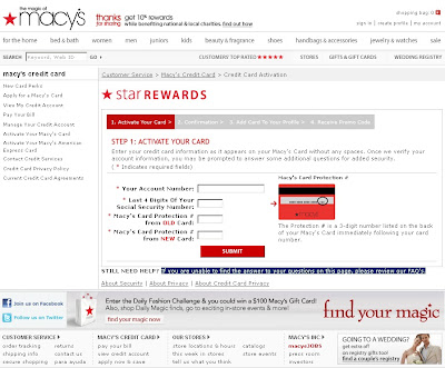 How to activate Macys Credit card at Macys.com?