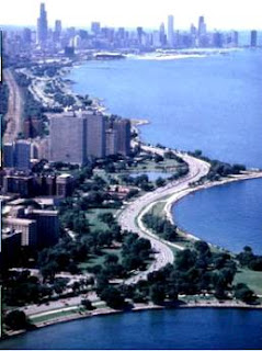 Chicago's historic Hyde Park community.  The view of downtown Chicago from picturesque Promontory Point