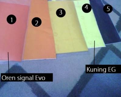 Sticker tinted Kuning/oren/hitam