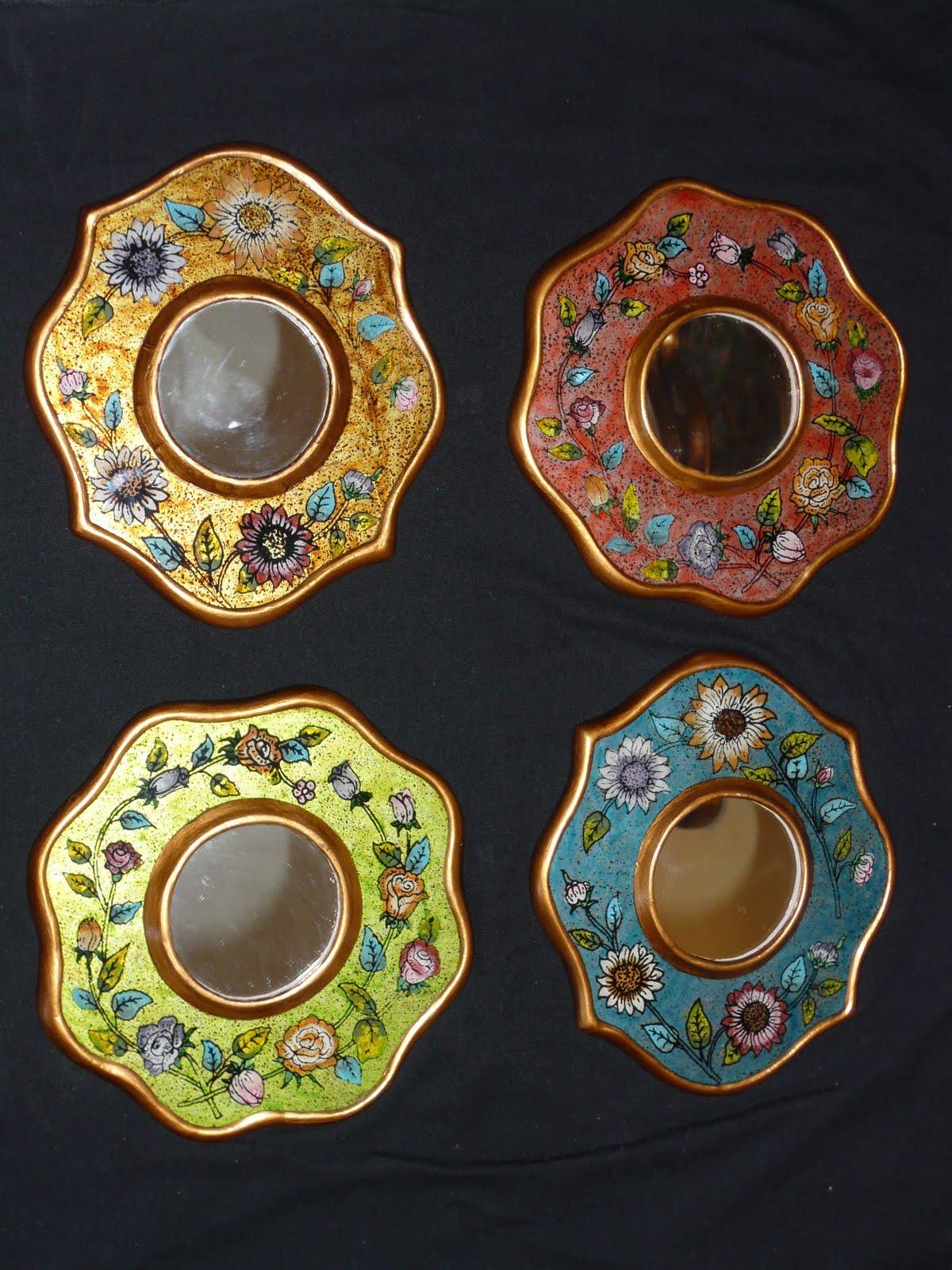Arte en vidrio y madera espejos de 15 cm - Espejos coloniales ...