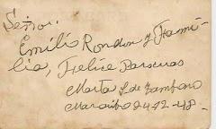 """Reverso de una """"Postal"""" de tía Marta, del año 1948:"""