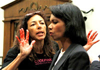 Activist confronts Condi