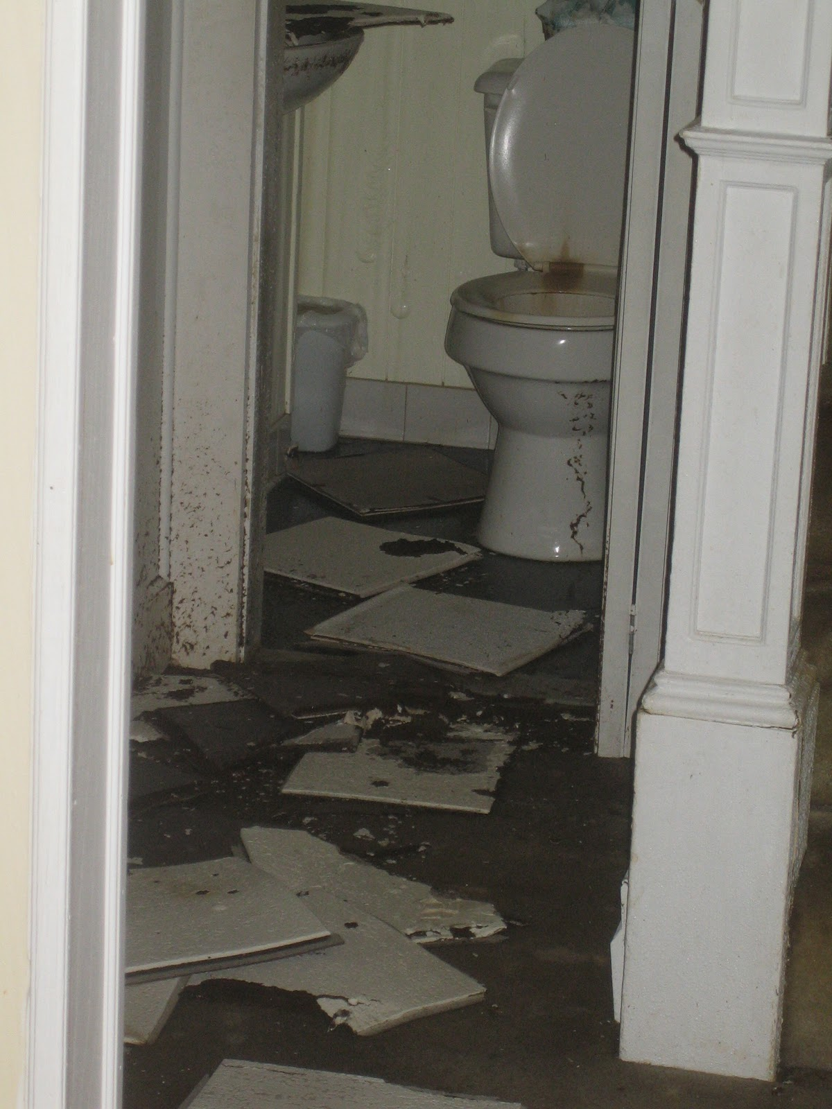 Bathroom Below Flooded By Burst Pipe Upstairs