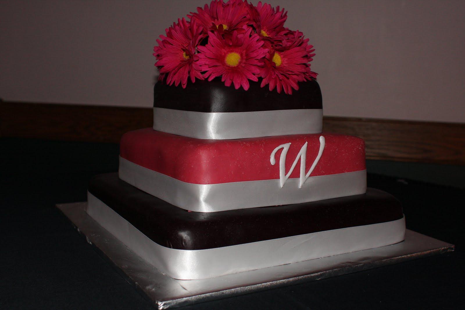 The Buttercream Bakery Pink & Black Wedding Cake