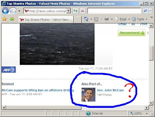 screenshot of Yahoo News photo of Obama labeled McCain