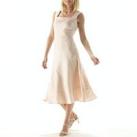 Vestido em linho rosa Anne Weyburn