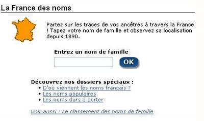 Répartition des noms de famille en France depuis 1890