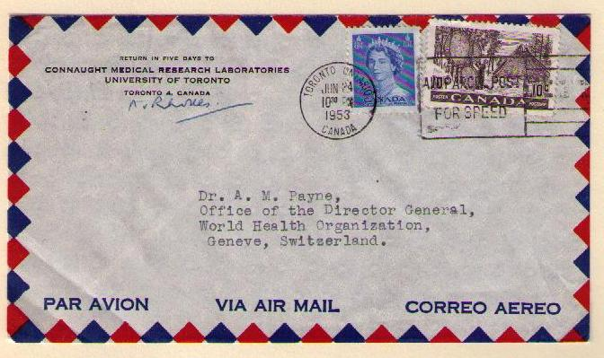 toronto to geneva switzerland june 24 1953 15 cents one quarter ounce air mail letter rate