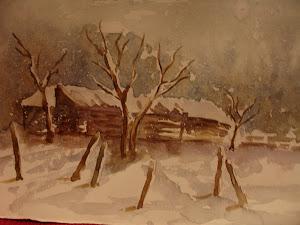 Casolare di campagna nella neve
