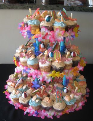 And this was a super fun Hawaiian Beach party themed cupcake tower