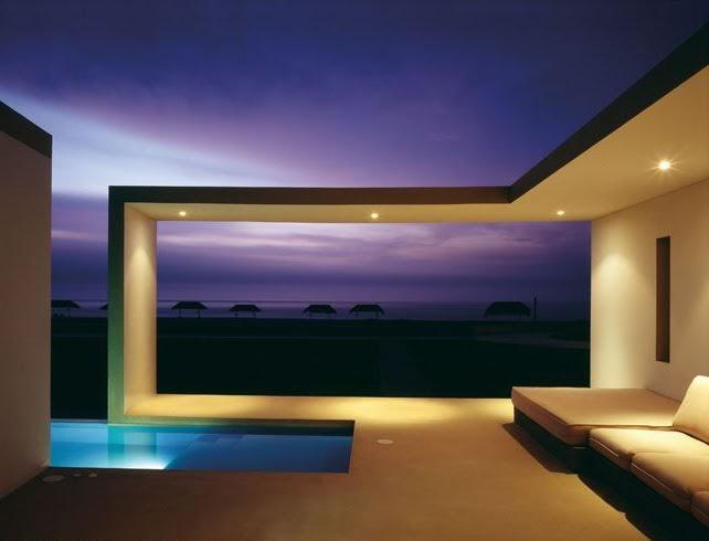 Casas minimalistas y modernas terrazas con piscina for Cuanto sale hacer una pileta de material