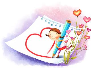Girl Drawing Heart Love Stock Wallpaper