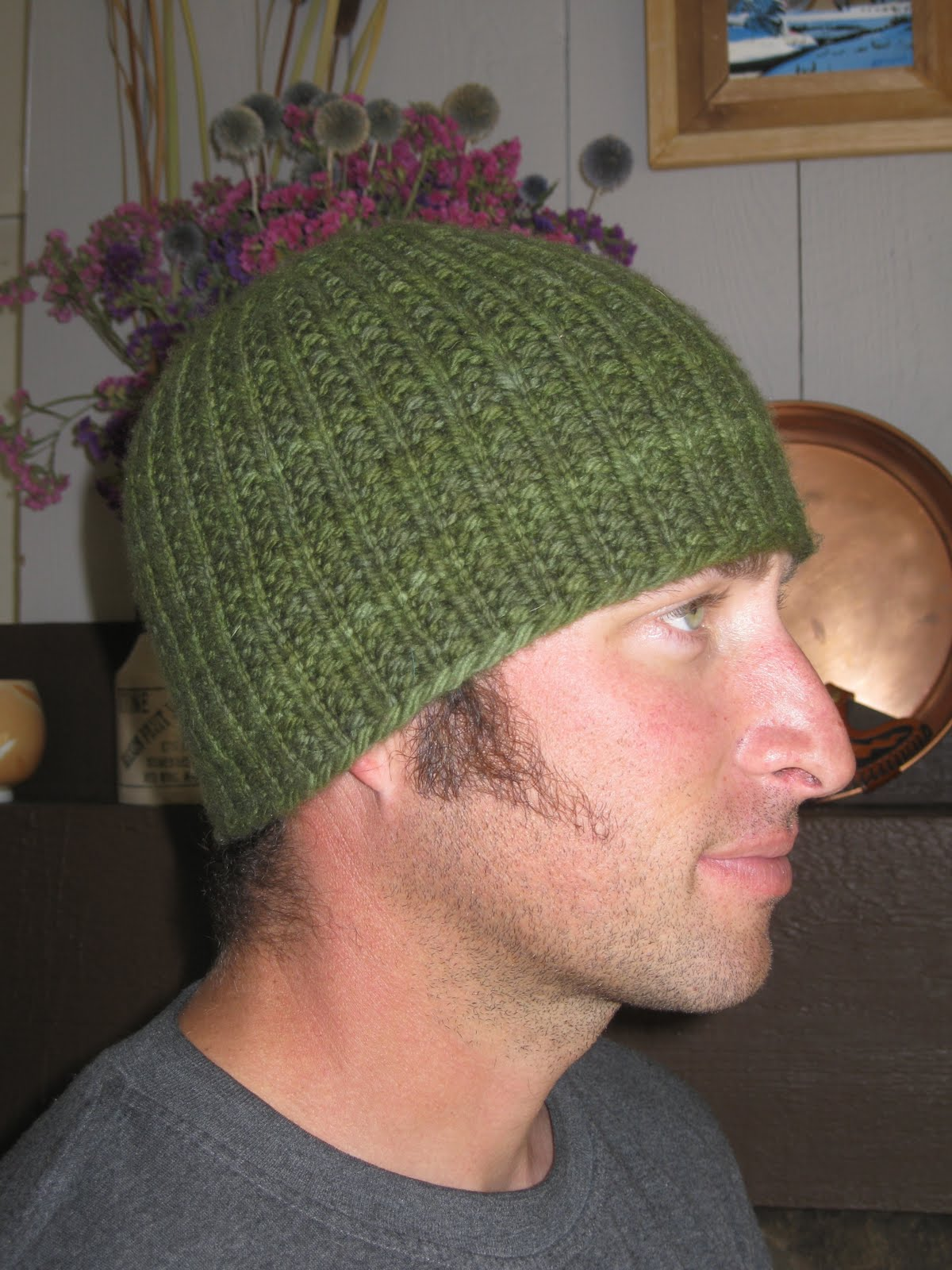 Knit Hat Patterns Not In The Round : Knit Alone Together: Man Hat Here