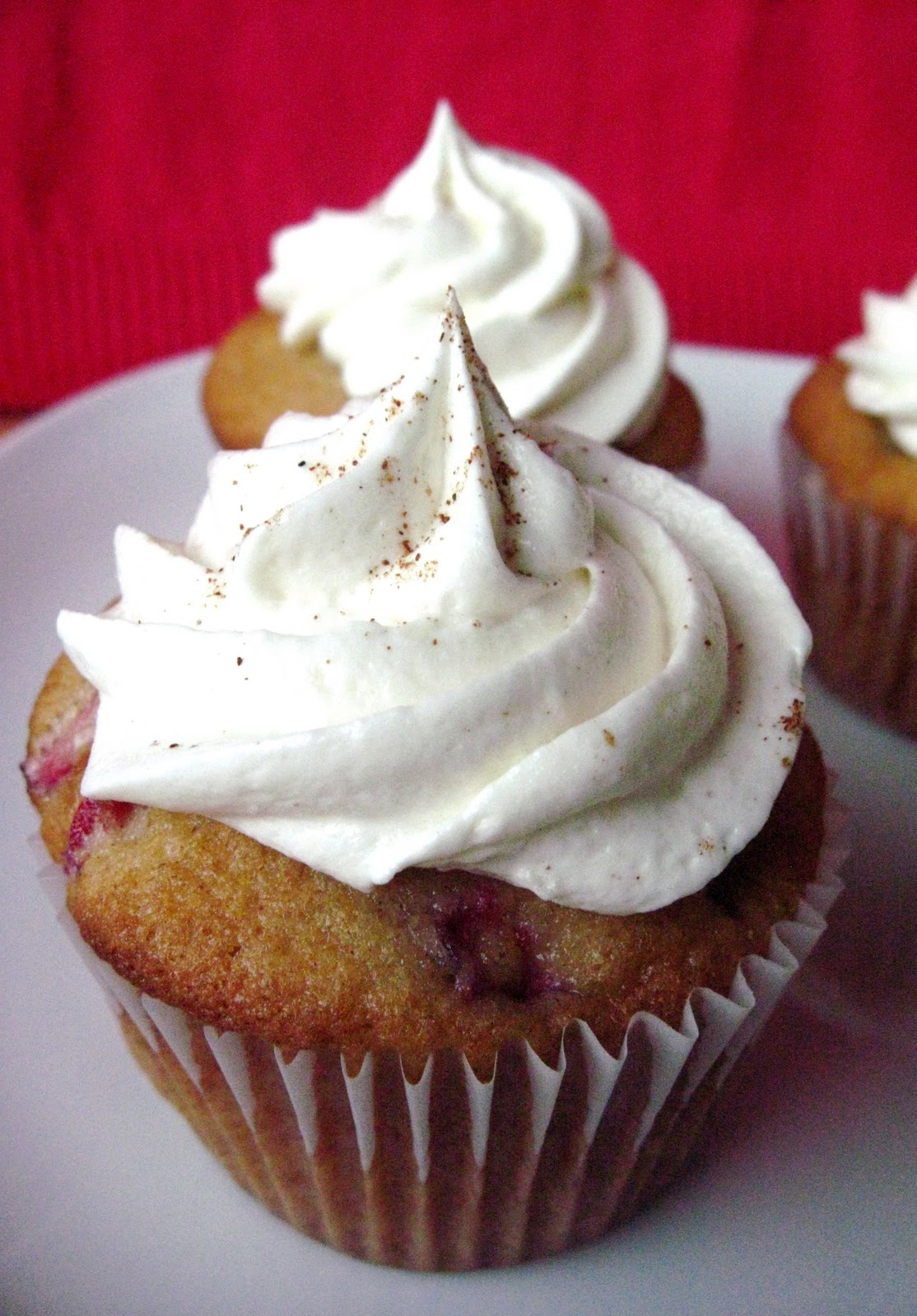 Eggnog Cranberry Cupcakes with White Chocolate Spiced ...