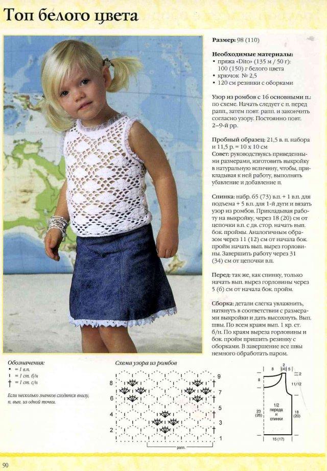Вязание топиков крючком с описанием для девочек